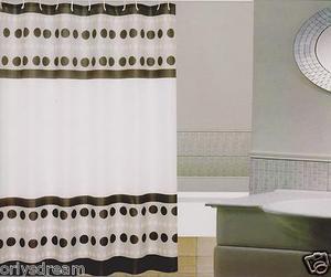 New Modern Design Printed Fabric Shower / Bath Curtain +12 Rings / Hooks - WHITE