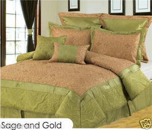 Queen size Bed in a Bag 8 pc. Comforter / Bed / Bedding Set Sage & Gold colors
