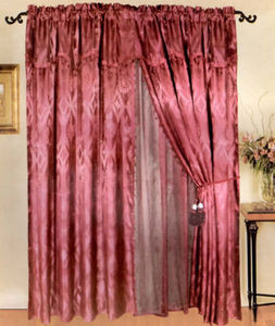 NEW Window Curtains / Drapes Set + Valance + Lace Liner - BURGUNDY