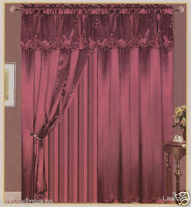 "Luxury ""Laura"" SATIN Window Curtain / Drape Set With Valance Backing & Tie-Backs"