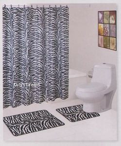"15 pc. Bath Mat Set/Fabric Shower Curtain/Fabric Covered Hooks - ""ZEBRA"" WHITE"