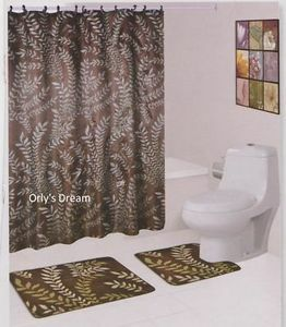 15 pc Printed Bath Mat Set/Fabric Shower Curtain/Fabric Covered Hooks-MOSS OLIVE