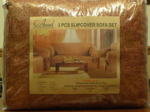"3pc.HEAVY DUTY""Chenille""Fabric COUCH COVERS,Sofa+LoveSeat+ArmChair Slipcover Set"