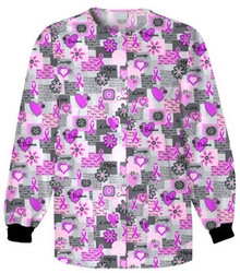 Cherokee Breast Cancer Awareness Snap Front Warm Up Jacket - 4350