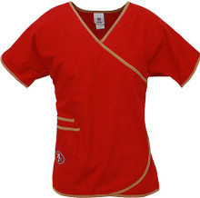 San Francisco 49er's Women's Mock Wrap Scrub Top
