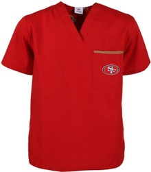 San Francisco 49er's V Neck Scrub Top