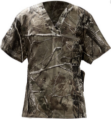 Real Tree Camo V Neck Scrub Top