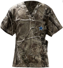 Dallas Cowboys Real Tree Camo V Neck NFL Scrub Top