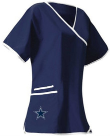 Dallas Cowboys Women's NFL Mock Wrap Scrub Top