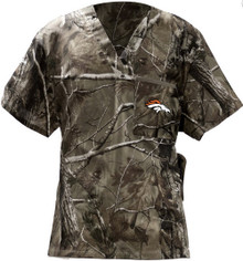Denver Broncos Real Tree V Neck Camo Scrub Top