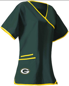 Green Bay Packers Women's NFL Mock Wrap Scrub Top