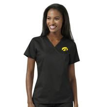 University of Iowa Black Women's Mock Wrap Scrub Top
