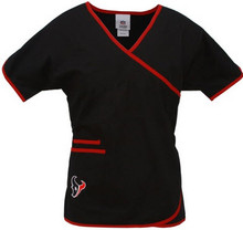 Houston Texans Women's Mock Wrap NFL Scrub Top
