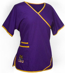LSU Women's Mock Wrap Scrub Top