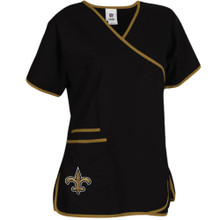 New Orleans Saints Women's NFL Mock Wrap Scrub Top