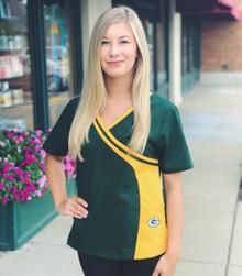 Green Bay Packers Women's Two Tone NFL Scrub Top