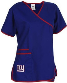 New York Giants Women's NFL Mock Wrap Scrub Top