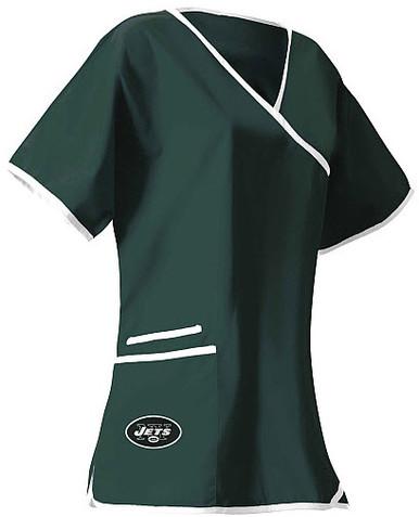 New York Jets Mock Wrap Scrub Top