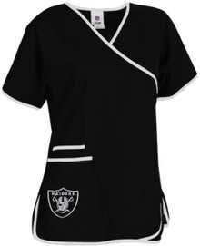 Oakland Raiders Women's Mock Wrap Scrub Top