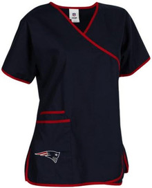 New England Patriots Women's Mock Wrap Scrub Top