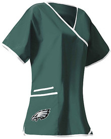 Philadelphia Eagles Women's Mock Wrap Scrub Top