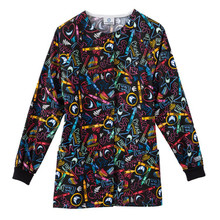 Teeth and Tooth Brush Print Warm Up Scrub Jacket For Women