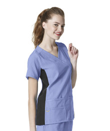 WonderWink Four-Stretch : Mock Wrap 6514 Knit Panel Scrub Top For Women*