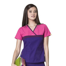 WonderWink Origins : Tri Charlie Mock Wrap Scrub Top For Women - HEG