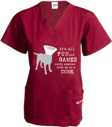 Dog V Neck Scrub Top