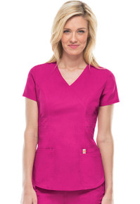 Code Happy Bliss : Antimicrobial Protection Mock Wrap Scrub Top*