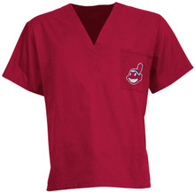 Cleveland Indians Red MLB V Neck Scrub Top