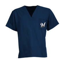 Milwaukee Brewers Navy MLB V Neck Scrub Top