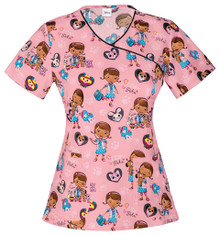 Doc McStufffins - I Care For Pets Scrub Top For Women