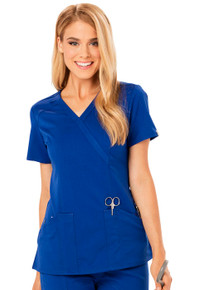 Code Happy Cloud Nine : Antimicrobial Protection ch601 Mock Wrap Scrub Top*