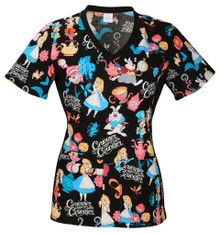 Alice in Wonderland Tea Party Scrub Top For Women