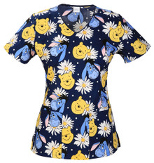 Disney Pooh Bear Scrub Top For Women