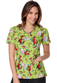Dr. Seuss Fox in Socks Scrub Top For Women