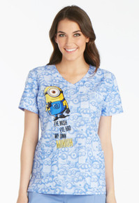 Disney Minions Scrub Top For Women