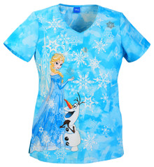Frozen Scrub Top With Elsa and Olaf Scrub Top For Women