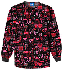 Cherokee Breast Cancer Awareness Caring for the Cause Snap Front Warm Up Jacket - 4350