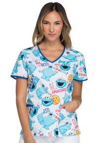 Cookie Monster - Me Da Best Scrub Top For Women