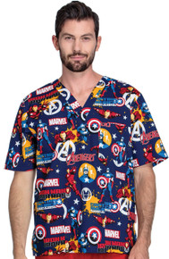 Marvel Comic Team Avengers - Iron Captain Scrub Top
