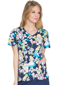 Alice & Wonderland Scrub Top For Women