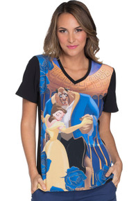 Beauty and The Beast Scrub Top For Women
