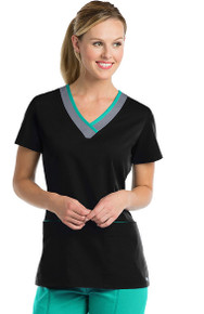 Active by Grey's Anatomy™ Women's Laser Cut V-Neck Solid Scrub Top*