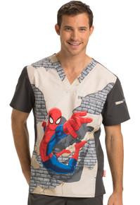 Spiderman V Neck Scrub Top For Men