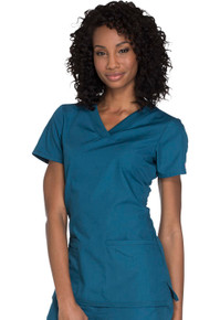 Cherokee Workwear :Originals Women's Knit V-Neck Solid Scrub Top For Women*