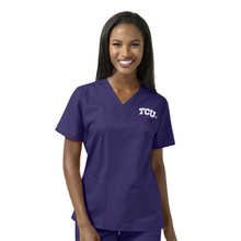 TCU Women's Grape V Neck Scrub Top