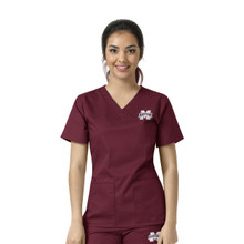 Mississippi State Bulldogs Women's V Neck Scrub Top