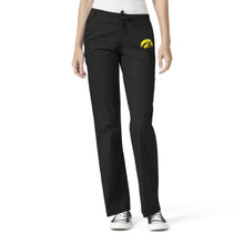 University of Iowa Hawkeyes Black Women's Flare Leg Scrub Pants